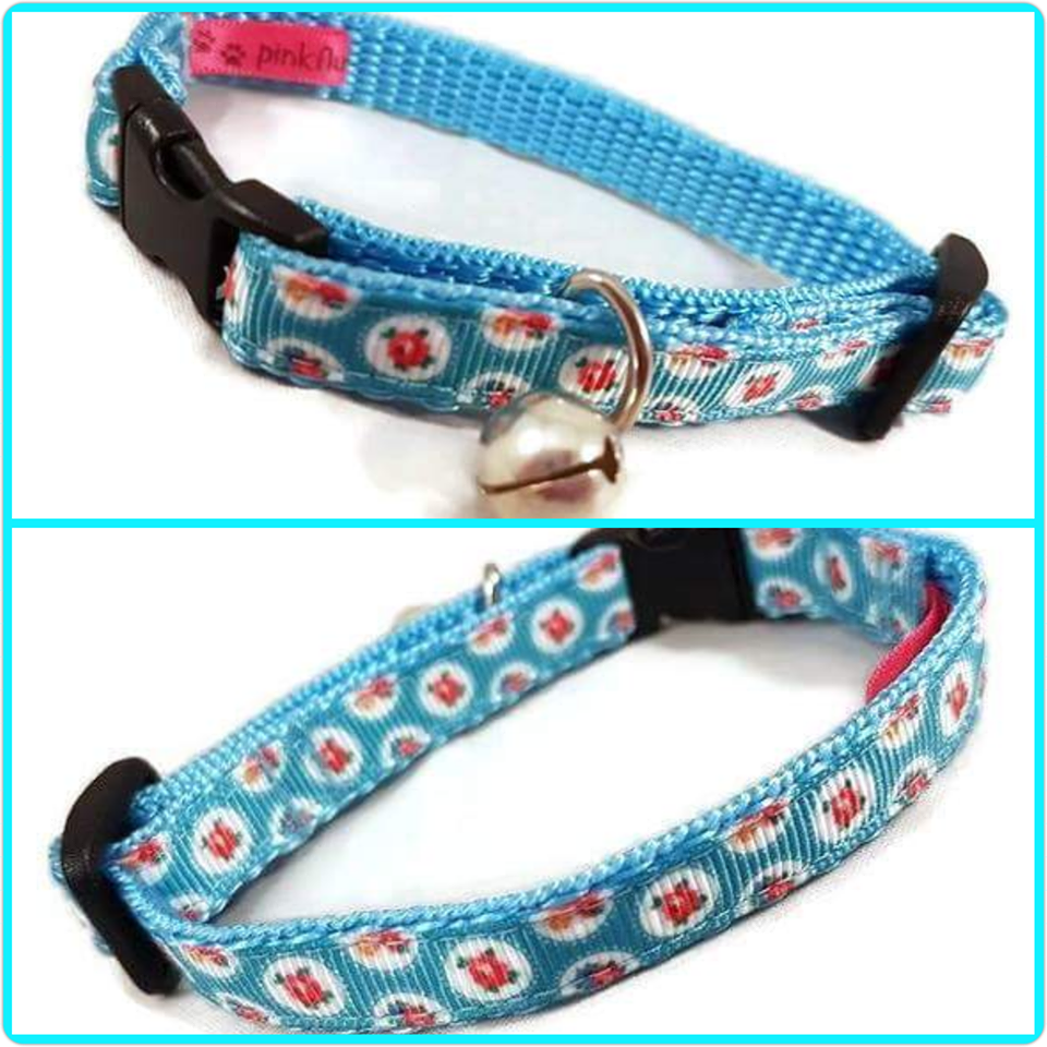 Blue Shabby Chic Cat Collar