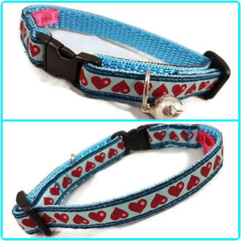 Blue Bubble Hearts Jacquard Cat Collar