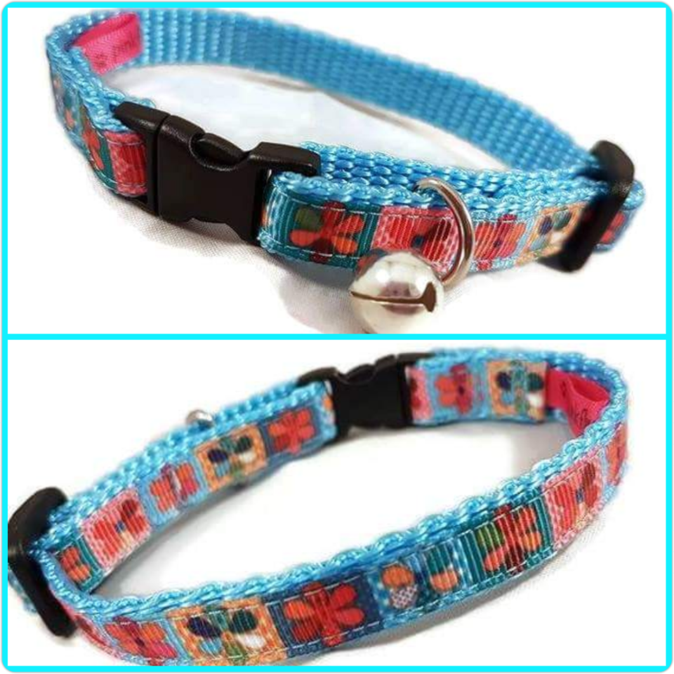 Multi Flowers Cat Collar