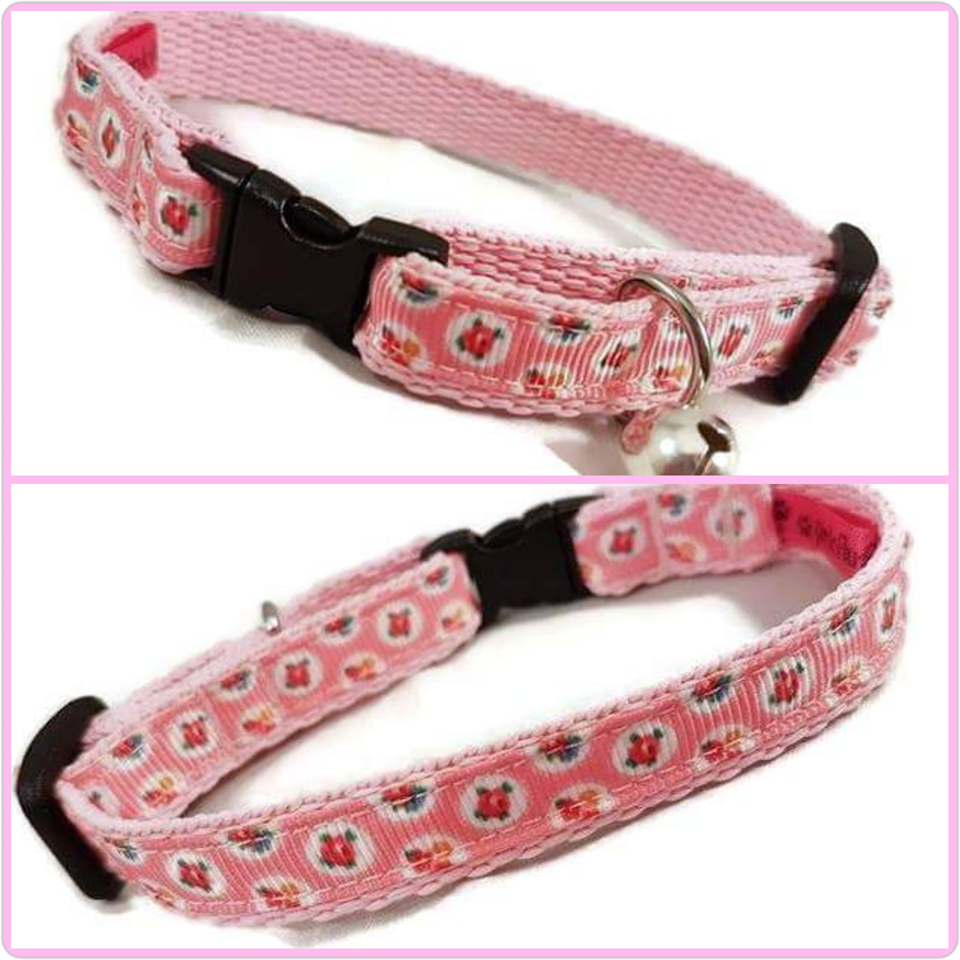 Pink Shabby Chic Cat Collar