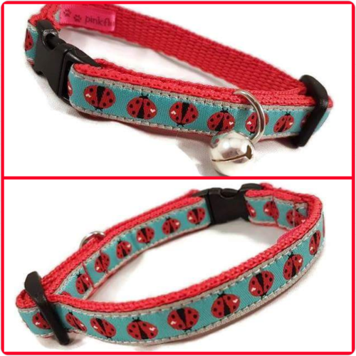 Turquoise Ladybirds Jacquard Cat Collar