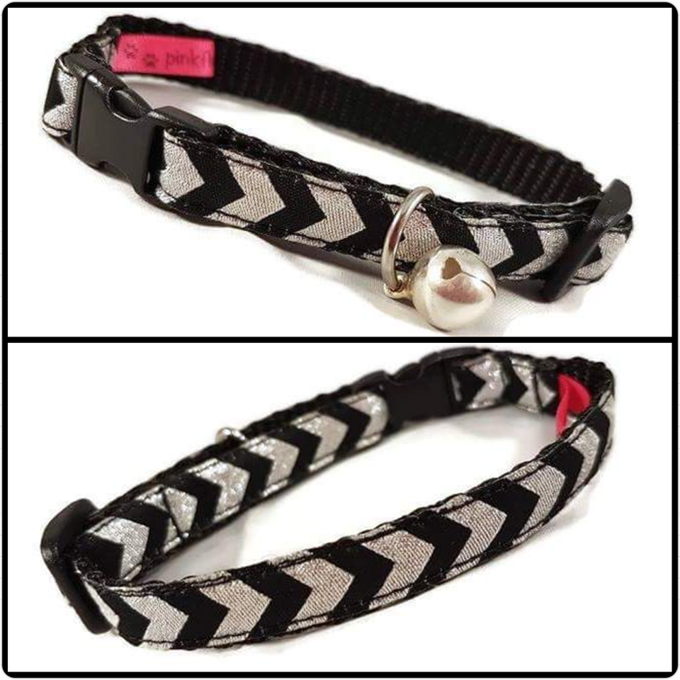Silver and Black Chevrons Cat Collar