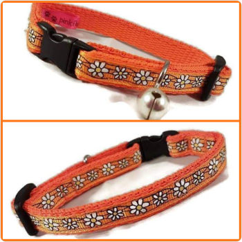 Orange Daisies Cat Collar