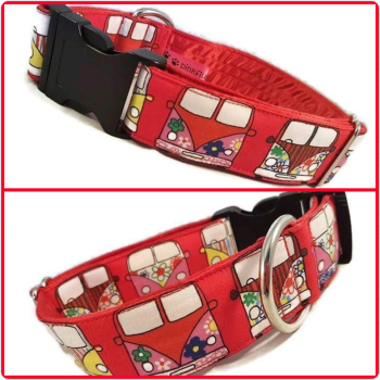 "1.5"" Red Campers Satin Lined Clip Collar"