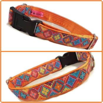 "1"" Orange Geometric Flowers Satin Lined Clip Collar"