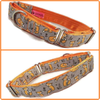 "1"" Sleepy Foxes Whippet Martingale Collar"