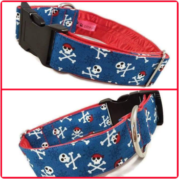 "1.5"" Blue Pirates Satin Lined Clip Collar"