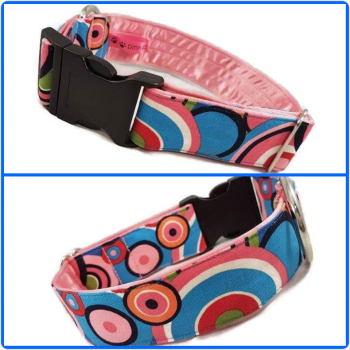 "1.5"" Funky Circles Satin Lined Clip Collar"