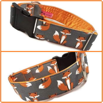 "1.5"" Grey Fabulous Foxes Satin Lined Clip Collar"