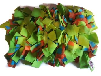 Lime green and Orange Check Mini Fleecy Forage Treat Mat