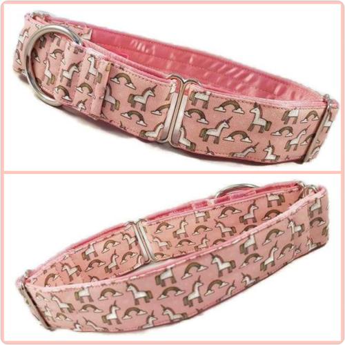 Pink Mini Unicorns Martingale Collar