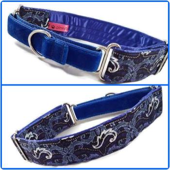 Blue African Glitter Swirls Half Martingale Collar