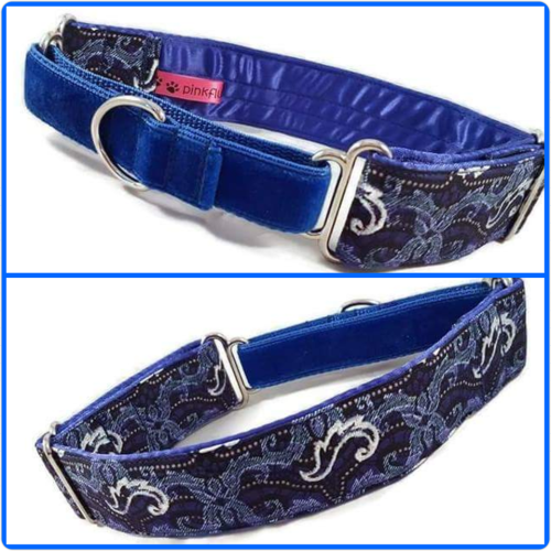 Blue African Glitter Swirls Martingale Collar