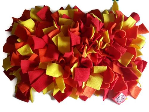 Red, Orange and Yellow Mini Fleecy Forage Treat Mat