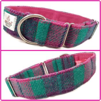 "1.5"" Pink, Purple and Aqua Check Harris Tweed House Collar"