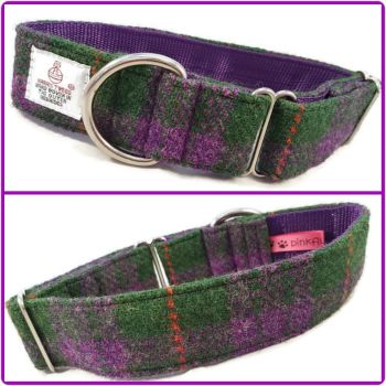 "1.5"" Purple and Green Check Harris Tweed House Collar"