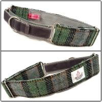"1.5"" Green and Grey Check Harris Tweed Martingale Collar"
