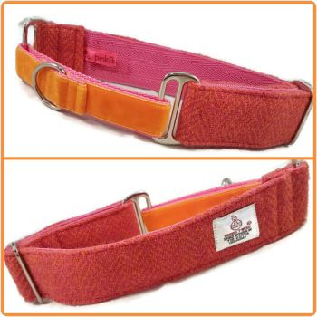 "1.5"" Pink and Orange Herringbone Harris Tweed Martingale Collar"