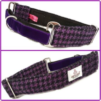 "1.5"" Purple and Black Houndstooth Harris Tweed Martingale Collar"
