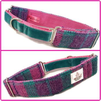 "1.5"" Pink, Purple and Aqua Check Harris Tweed Martingale Collar"