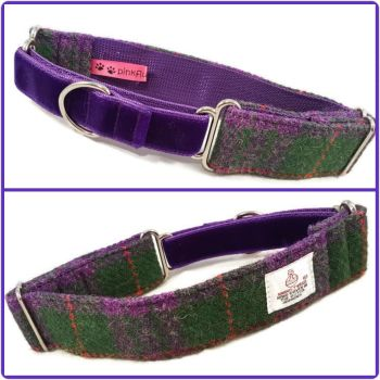 "1.5"" Purple and Green Check Harris Tweed Martingale Collar"