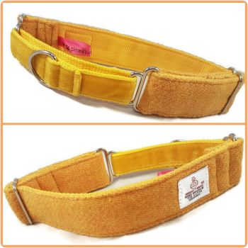 "1.5"" Mustard Harris Tweed Martingale Collar"
