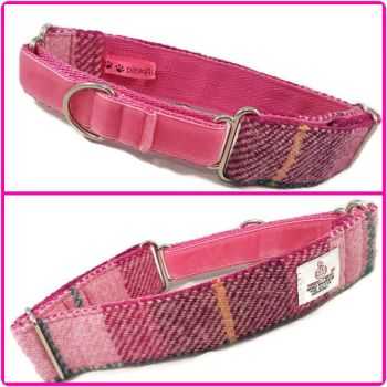 "1.5"" Pink Check Harris Tweed Martingale Collar"