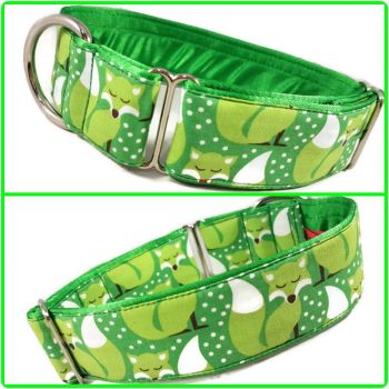 "1.5"" Green Festive Foxes Greyhound House/Tag Collar"