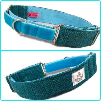 "1.5"" Turquoise Herringbone Harris Tweed Martingale Collar"