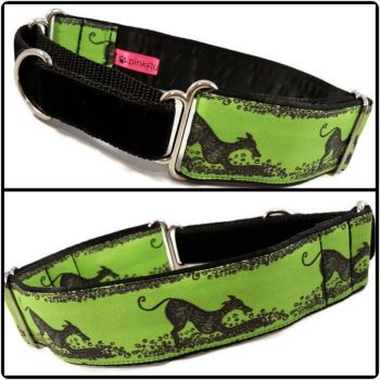 Green Play Bow Hounds Half Martingale Collar