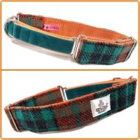 "1.5"" Turquoise and Orange Check Harris Tweed Martingale Collar"