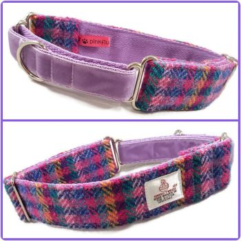 "1.5"" Multi Block Stripes Harris Tweed Martingale Collar"
