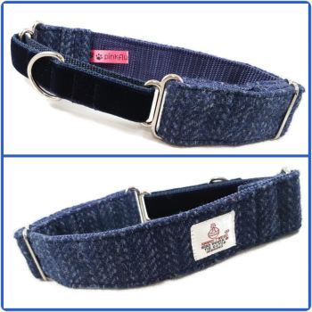 "1.5"" Navy Herringbone Harris Tweed Martingale Collar"