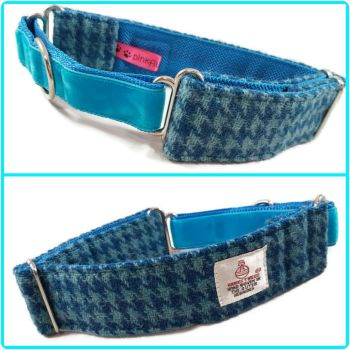 "1.5"" Turquoise Houndstooth Harris Tweed Martingale Collar"