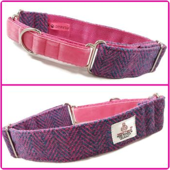 "1.5"" Turquoise and Pink Herringbone Harris Tweed Martingale Collar"
