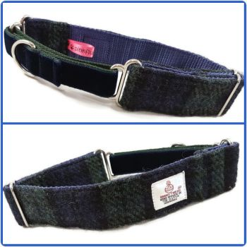 "1.5"" Blackwatch Harris Tweed Martingale Collar"