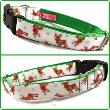 "1"" Mini Tossed Reindeers Satin Lined Clip Collar"