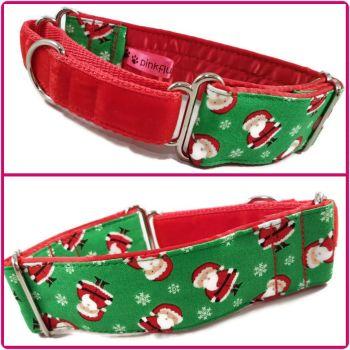"1.5"" Mini Santas Whippet Half Martingale Collar"