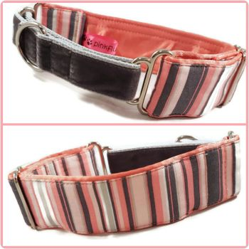 "1.5"" Coral Stripes Whippet Half Martingale Collar"
