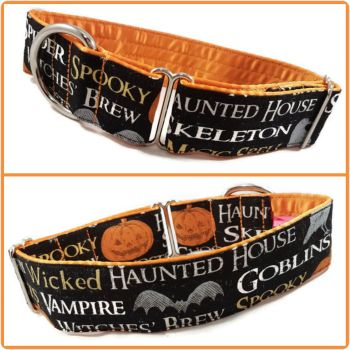 "1.5"" Pumpkin Words Greyhound House/Tag Collar"