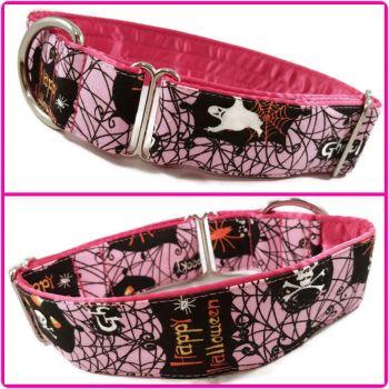 "1.5"" Pink Halloween Greyhound House/Tag Collar"