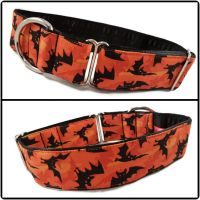 "1.5"" Orange Bats Greyhound House/Tag Collar"