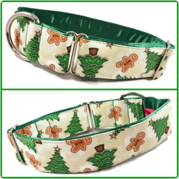 "1.5"" Gingerbread and Trees Greyhound House/Tag Collar"