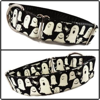 "1.5"" Glow in the Dark Ghosts Greyhound House/Tag Collar"