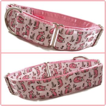 Pink Mini Sleepy Foxes Martingale Collar