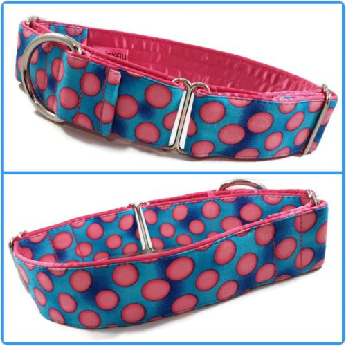 Turquoise and Pink Polkadots Martingale Collar