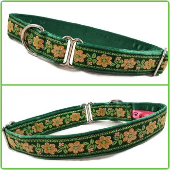 "1"" Green Flowers Jacquard House/Tag Collar"