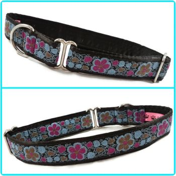 "1"" Turquoise Flowers Jacquard House/Tag Collar"