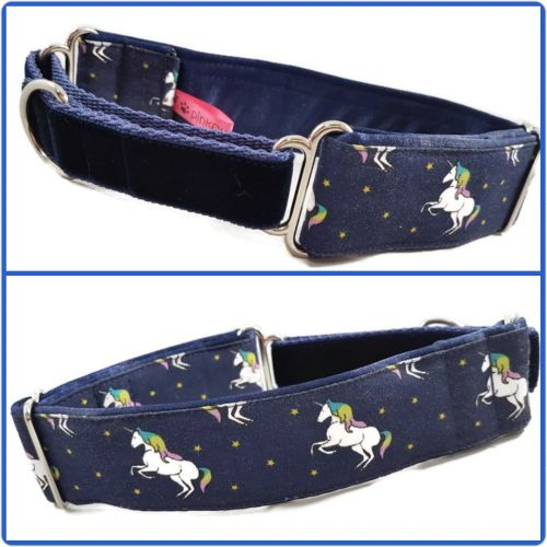 Navy Prancing Unicorns Half Martingale Collar