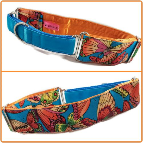 Turquoise Butterflies Half Martingale Collar